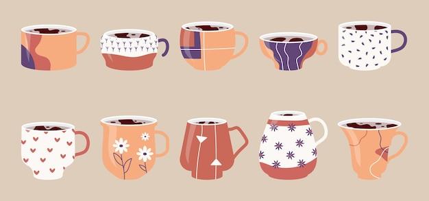 Набор керамических чашек, кружки с абстрактным цветочным линейным узором, чашка чая или кофе в плоском мультяшном стиле