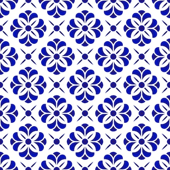 セラミック花のパターン、青と白の花のシームレスな背景、美しい磁器の傾き