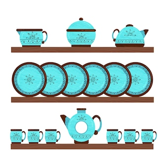 Набор керамической посуды. посуда на деревянных полках. векторная иллюстрация.