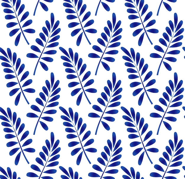 Ceramic leaves pattern blue and white