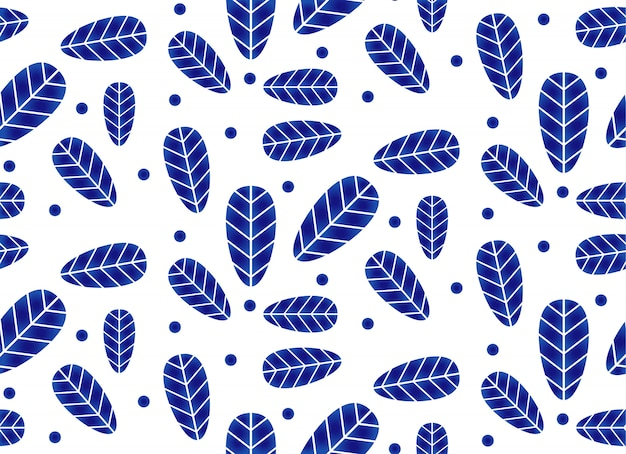 Ceramic pattern with leaves, porcelain ceramic seamless design, blue and white wallpaper with leaf decor