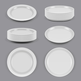 Керамические тарелки. реалистичная посуда для еды, кухонная утварь, миски и тарелки