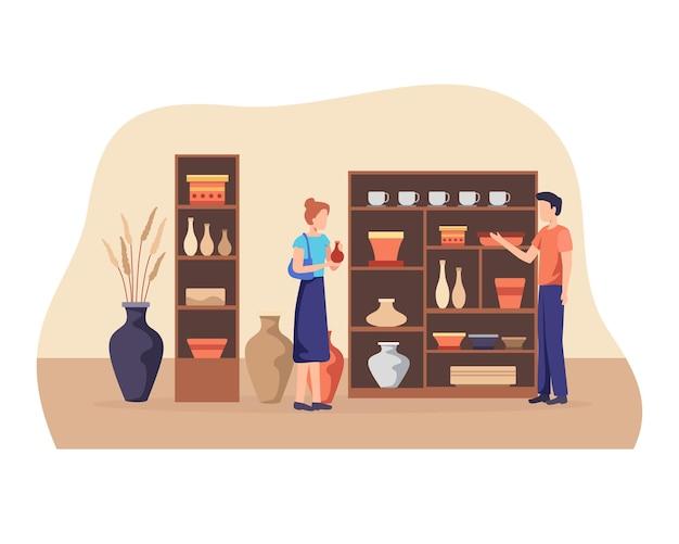 세라믹 가게 주인이 고객과 이야기를 나누고 있습니다. 플랫 스타일의 일러스트레이션