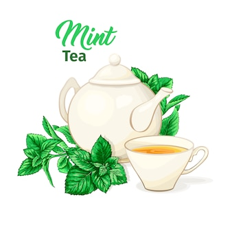 Teiera e tazza da tè in ceramica con tè e foglie di menta.