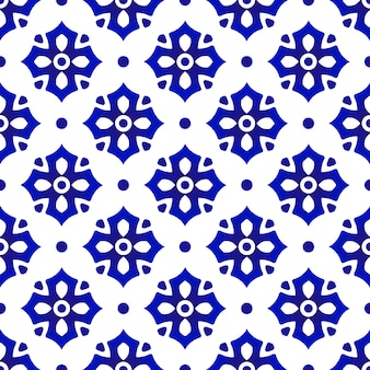 Ceramic thai pattern , abstract flower tile, blue and white floral porcelain