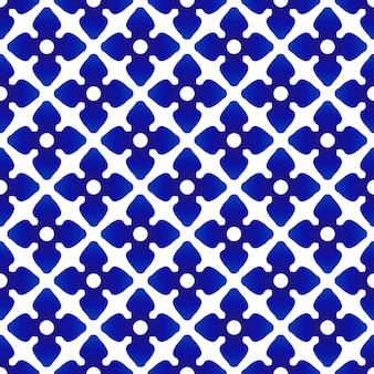 陶器のタイのパターン、花青と白の背景、現代の磁器のシームレスな陶器