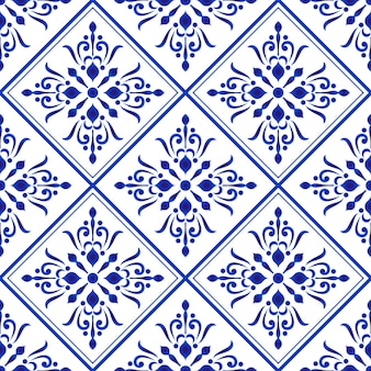 Ceramic tile pattern blue and white damask and baroque style