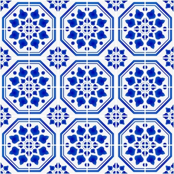 Ceramic tile pattern blue and white antique wallpaper, illustration