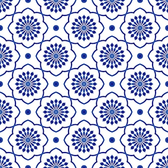 Ceramic tile pattern, blue and white floral seamless background