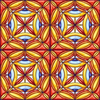 セラミックタイルパターン。装飾的な抽象的な背景。伝統的な華やかなメキシコのタラベラ、ポルトガルのアズレージョまたはスペインのマジョリカ