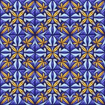 Рисунок керамической плитки. декоративный абстрактный фон. традиционная богато украшенная мексиканская талавера, португальское азулежо или испанская майолика.
