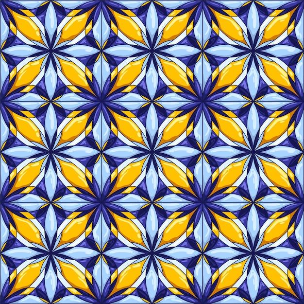 セラミックタイルパターン。装飾的な抽象的な背景。伝統的な華やかなメキシコのタラベラ、ポルトガルのアズレージョ、またはスペインのマジョリカ焼き。