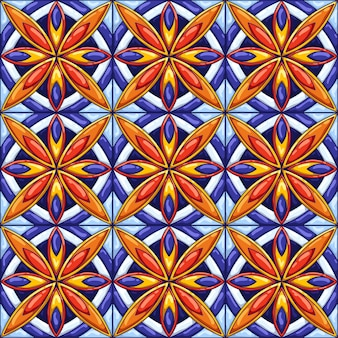 Ceramic tile pattern. decorative abstract background. traditional ornate mexican talavera, portuguese azulejo or spanish majolica