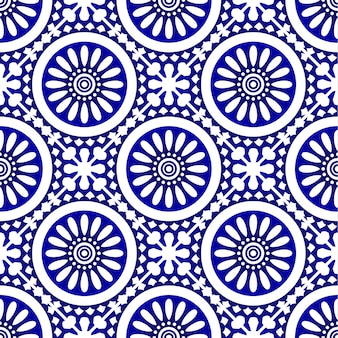 Ceramic tile pattern, porcelain blue and white decorative wallpaper decor. vintage tiled design