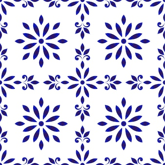 Ceramic tile pattern, seamless porcelain decor, cute chinaware background, blue and white floral backdrop for design floor, wallpaper, texture, fabric, paper, tiled and ceiling,vector illustration