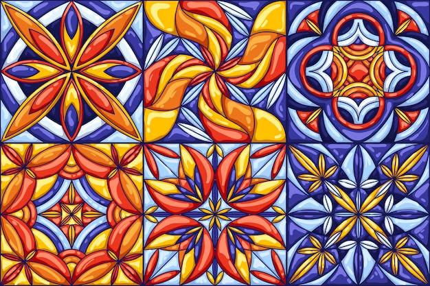 セラミックタイルパターン。伝統的な華やかなメキシコのタラベラ、ポルトガルのアズレージョまたはスペインのマジョリカ