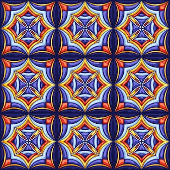 Ceramic tile pattern. typical ornate portuguese or italian ceramic tiles. decorative abstract background. seamless retro .