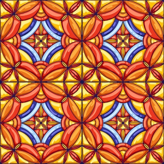 Ceramic tile pattern. typical ornate portuguese or italian ceramic tiles. decorative abstract background.