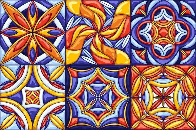 Ceramic tile pattern. typical ornate portuguese or italian ceramic tiles.