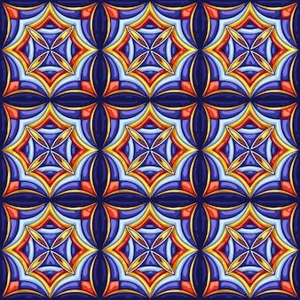 セラミックタイルパターン。典型的な華やかなポルトガル語またはイタリア語のセラミックタイル。装飾的な抽象的な背景。シームレスなレトロ。