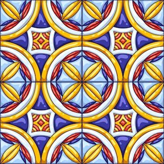 セラミックタイルパターン。典型的な華やかなポルトガル語またはイタリア語のセラミックタイル。装飾的な抽象的な背景。