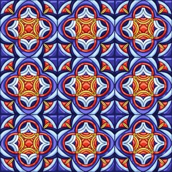 Рисунок керамической плитки. типичная декоративная португальская или итальянская керамическая плитка.