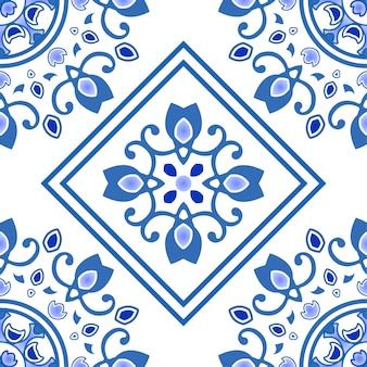 ポルトガル風、アズレージョ、青と白の花の装飾的なデザインのセラミックタイルシームレスパターン