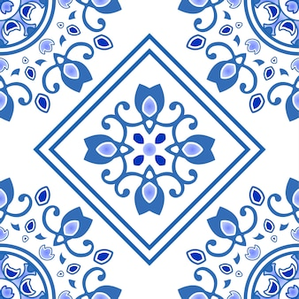 Ceramic tile seamless pattern in portugal style, azulejo, blue and white floral decorative design