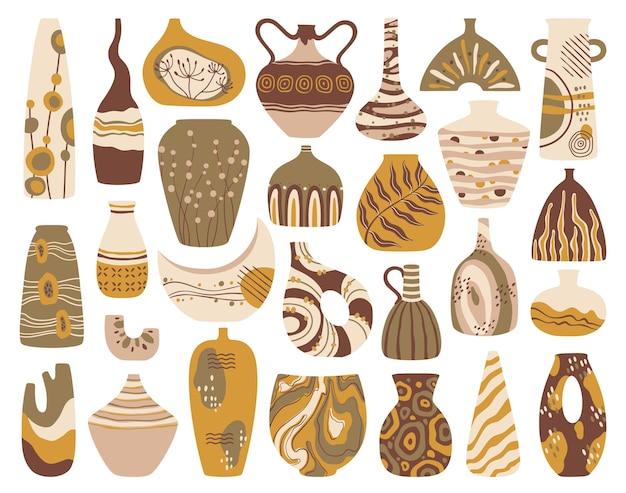 トレンディな抽象的な装飾品がセットされたセラミック花瓶モダンな手作り陶器