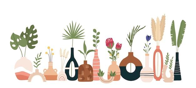 세라믹 꽃병 포스터입니다. 꽃병, 냄비 및 주전자가 있는 스칸디나비아 예술. 수제 도자기 주방 배너입니다. 최소한의 현대적인 평면 벡터 인쇄입니다. 스칸디나비아 세라믹 꽃병, 꽃 장식 꽃 그림