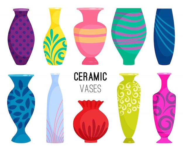 Ceramic vases collection. colored ceramics vase objects, antique pottery cups with flowers