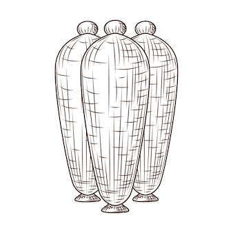 Ceramic vases engraved style isolated on white background. vintage sketch outline close up.