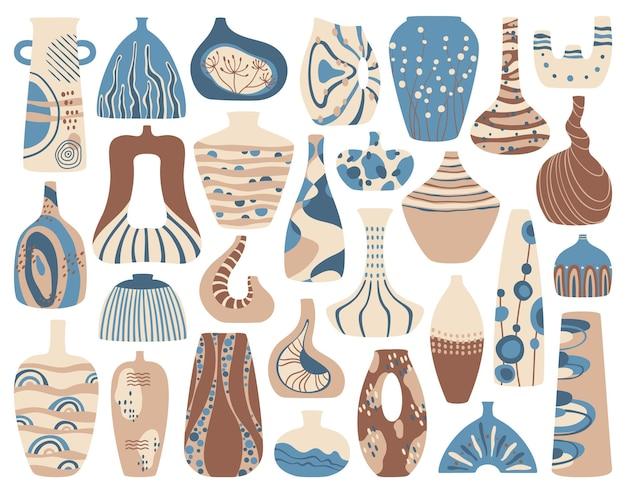 セラミック花瓶抽象的な装飾が設定された手作りの磁器の花瓶土鍋
