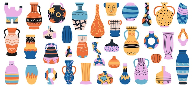 セラミック花瓶。磁器セラミック花瓶、ミニマリストアンティーク陶器孤立手描きセット