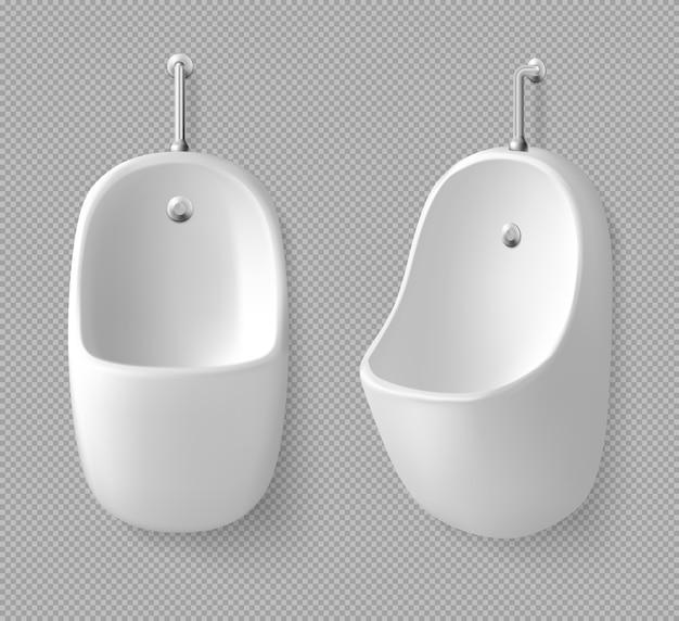 男性トイレの正面と側面のセラミック壁の小便器。男性用公衆トイレの設備、
