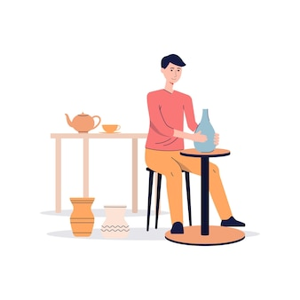 Ceramist or potter man character working on pottery wheel and making clay vase, flat vector illustration isolated on white surface