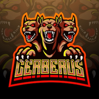 Cerberus esport талисман дизайн логотипа