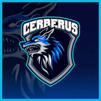 Cerberus head hellhound mascot esport logo illustrations template, wolfgang logo for streamer