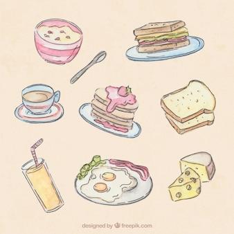 아침 식사 시리얼과 손으로 그린 음식