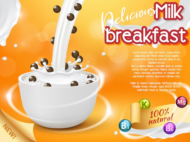 Cereal breakfast advertising vector realistic illustration
