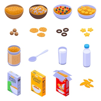 Cereal flakes icons set