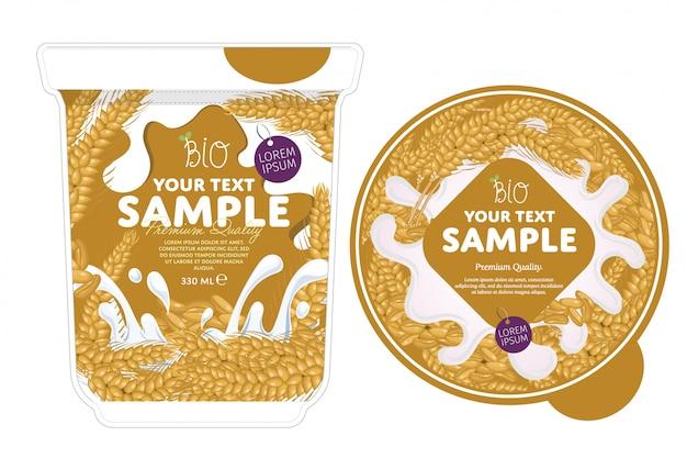 Cereal yogurt packaging template.