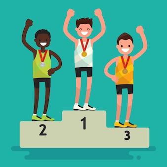 メダルの授与式。台座の3人のアスリート。