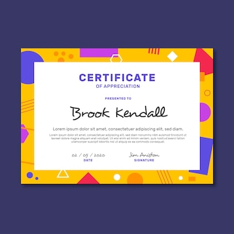 Certificate abstract geometric template