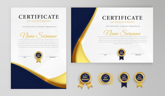 Certificate of achievemen templates t for award, business, and education needs Premium Vector