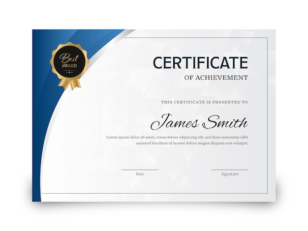 Certificate of achievement award template in blue and gray color.