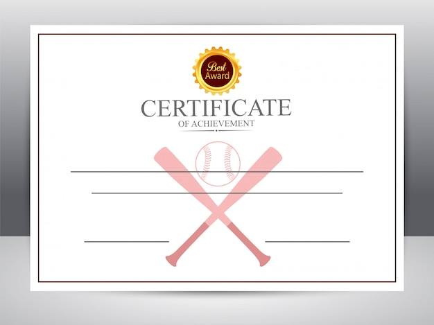 Certificate of achievement for baseball sports