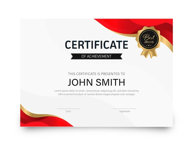 Certificate of achievement best award template layout in white and red color.