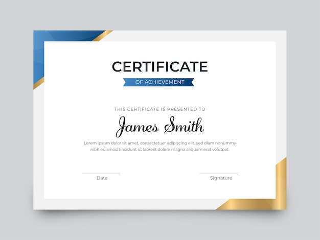 Certificate of achievement best award template in white color.