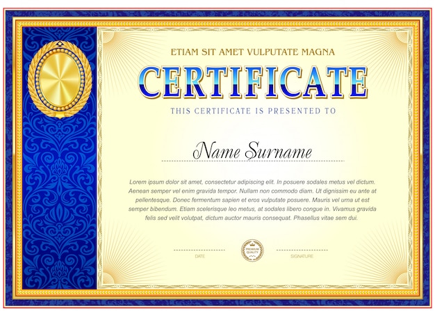 Certificate of achievement blank template.